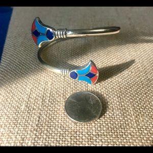 Vintage Jewelry - Vintage Silver Egyptian Revival Enamel Bracelet